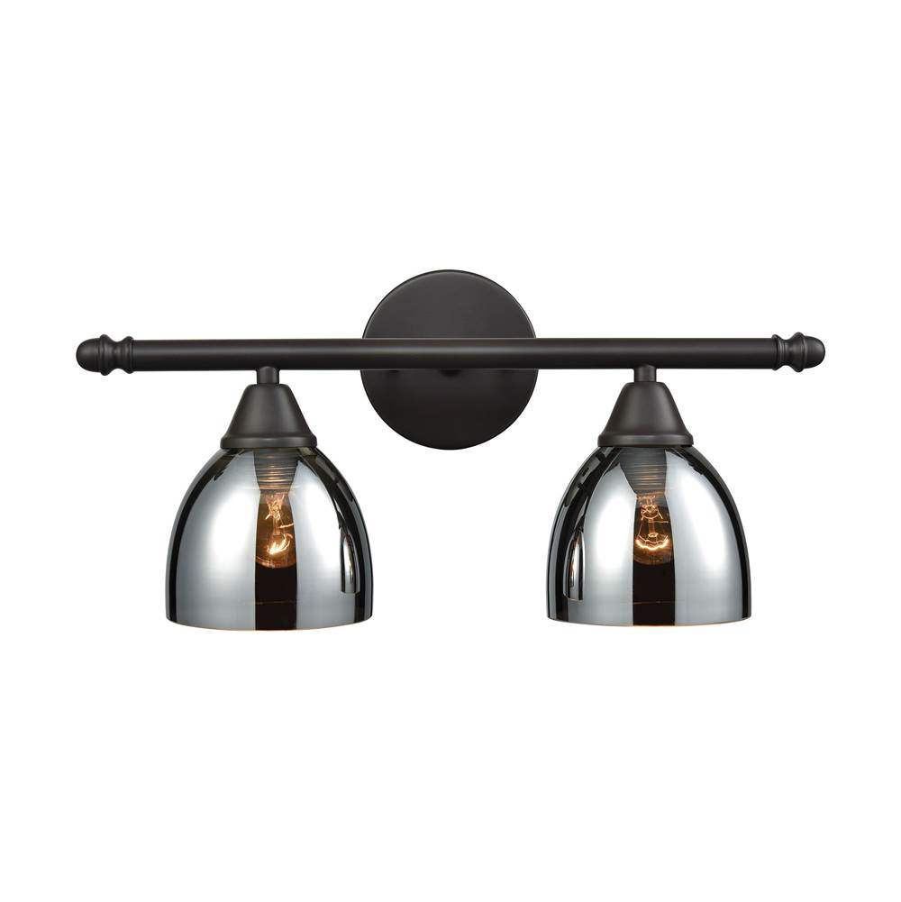 Elk lighting 102712 at wolff design center plumbing showrooms elk lighting 102712 reflections 2 light vanity in oil rubbed bronze with chrome plated glass mozeypictures Gallery