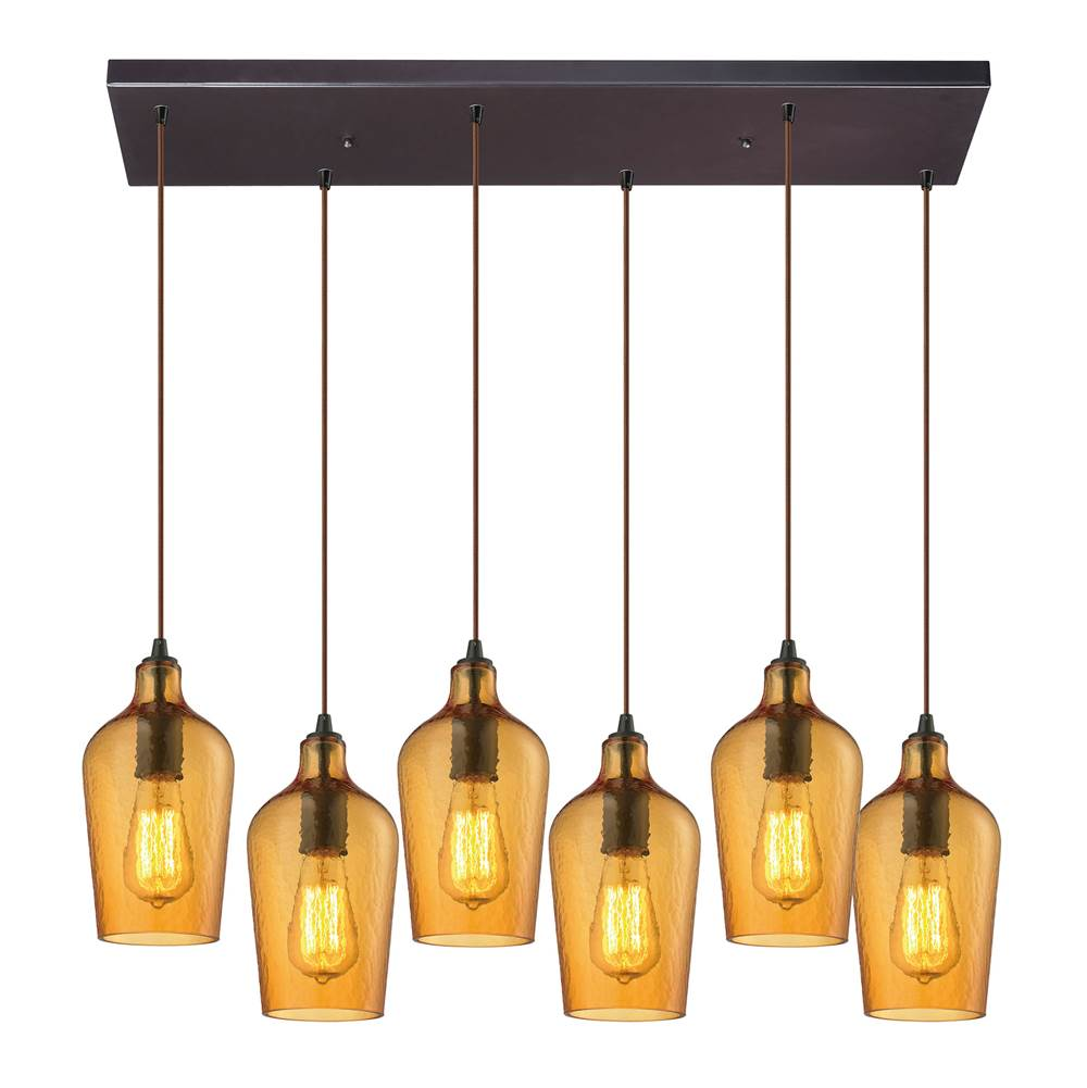 Elk lighting 103316rc hamb at wolff design center plumbing elk lighting 103316rc hamb hammered glass 6 light pendant in oil rubbed bronze and amber glass aloadofball Image collections