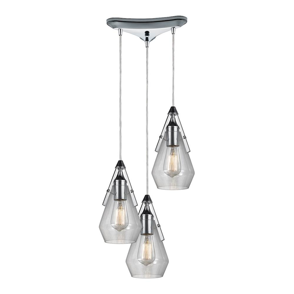 Elk lighting 461713 at wolff design center plumbing showrooms elk lighting 461713 duncan 3 light pendant in polished chrome and clear glass aloadofball Image collections